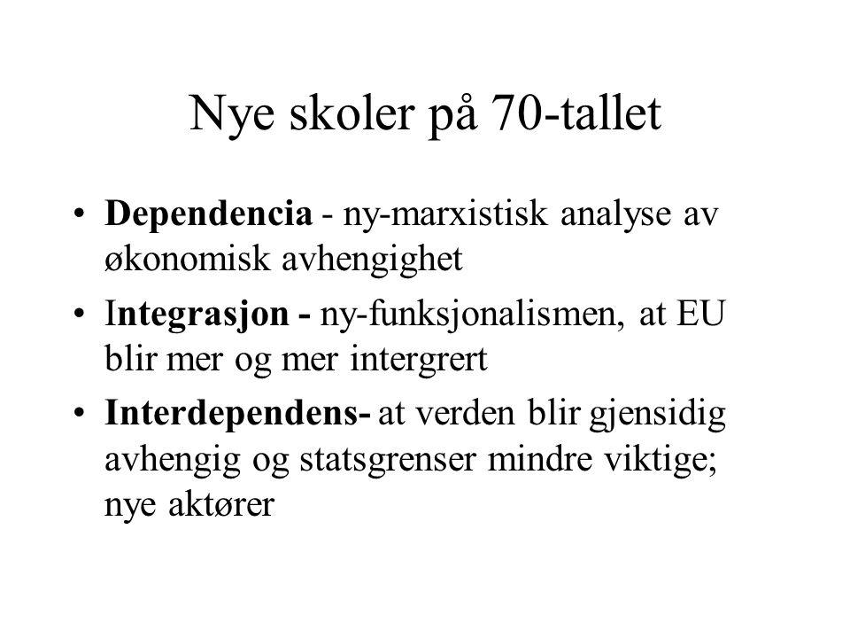 Nye skoler på 70-tallet Dependencia - ny-marxistisk analyse av økonomisk avhengighet Integrasjon - ny-funksjonalismen, at EU blir mer og mer intergrert Interdependens- at verden blir gjensidig avhengig og statsgrenser mindre viktige; nye aktører