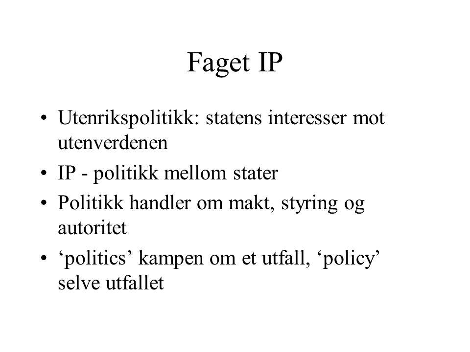 Faget IP Utenrikspolitikk: statens interesser mot utenverdenen IP - politikk mellom stater Politikk handler om makt, styring og autoritet 'politics' kampen om et utfall, 'policy' selve utfallet