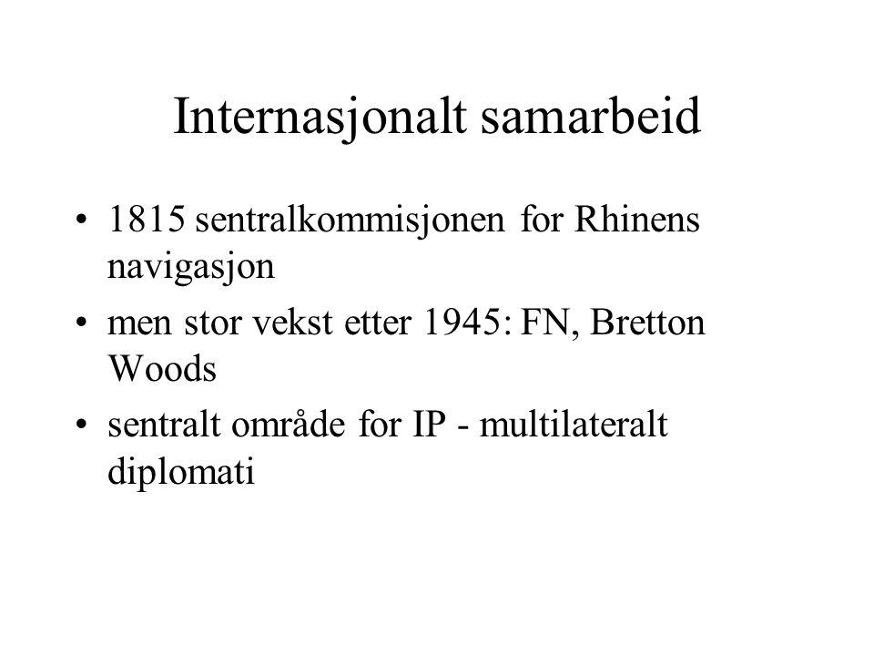 Internasjonalt samarbeid 1815 sentralkommisjonen for Rhinens navigasjon men stor vekst etter 1945: FN, Bretton Woods sentralt område for IP - multilateralt diplomati