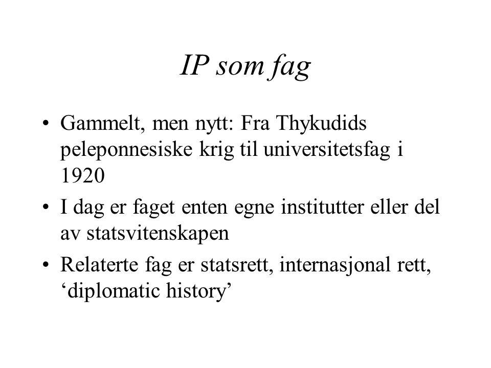 IP som fag Gammelt, men nytt: Fra Thykudids peleponnesiske krig til universitetsfag i 1920 I dag er faget enten egne institutter eller del av statsvitenskapen Relaterte fag er statsrett, internasjonal rett, 'diplomatic history'
