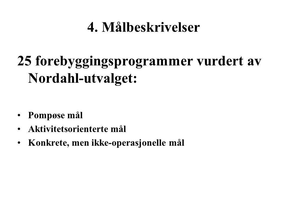 4. Målbeskrivelser 25 forebyggingsprogrammer vurdert av Nordahl-utvalget: Pompøse mål Aktivitetsorienterte mål Konkrete, men ikke-operasjonelle mål