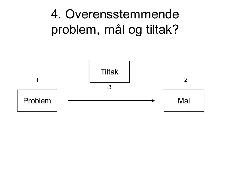 4. Overensstemmende problem, mål og tiltak? Problem Tiltak Mål 12 3