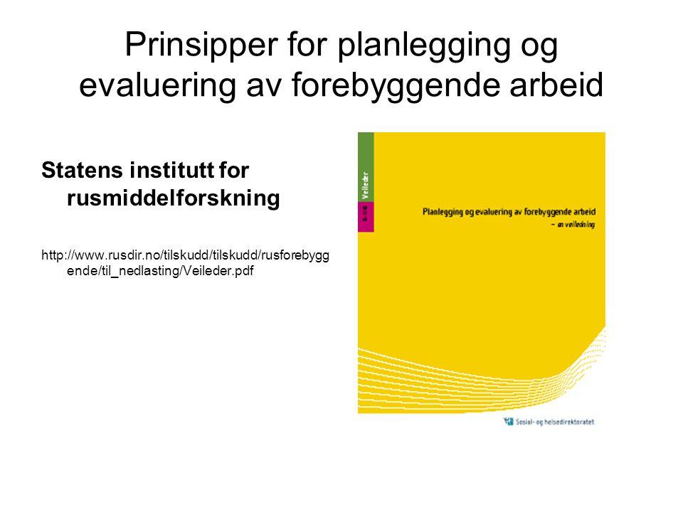 Prinsipper for planlegging og evaluering av forebyggende arbeid Statens institutt for rusmiddelforskning http://www.rusdir.no/tilskudd/tilskudd/rusfor
