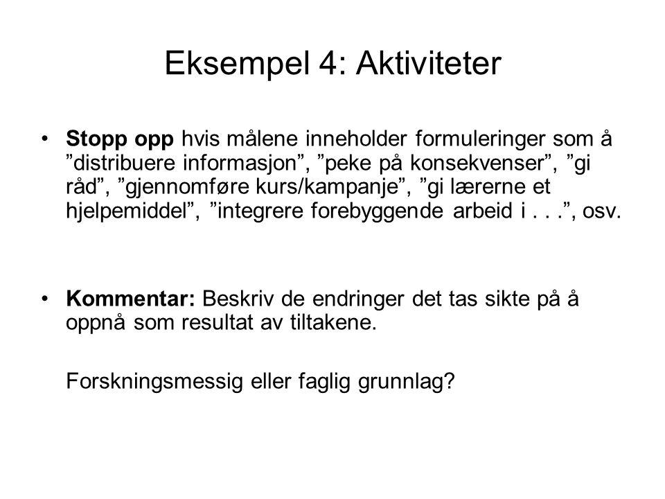 """Eksempel 4: Aktiviteter Stopp opp hvis målene inneholder formuleringer som å """"distribuere informasjon"""", """"peke på konsekvenser"""", """"gi råd"""", """"gjennomføre"""