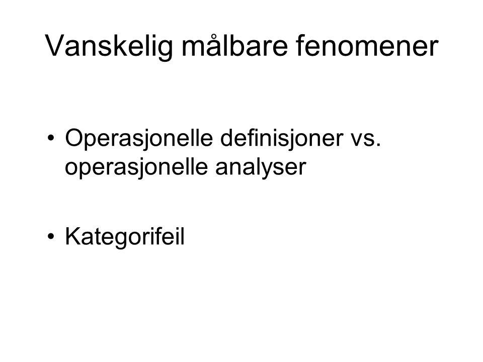 Vanskelig målbare fenomener Operasjonelle definisjoner vs. operasjonelle analyser Kategorifeil