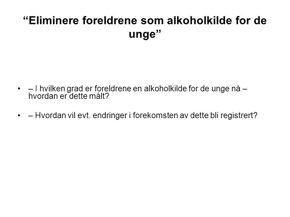"""""""Eliminere foreldrene som alkoholkilde for de unge"""" – I hvilken grad er foreldrene en alkoholkilde for de unge nå – hvordan er dette målt? – Hvordan v"""