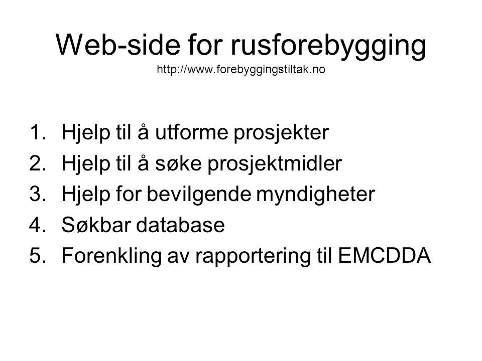 Web-side for rusforebygging http://www.forebyggingstiltak.no 1.Hjelp til å utforme prosjekter 2.Hjelp til å søke prosjektmidler 3.Hjelp for bevilgende