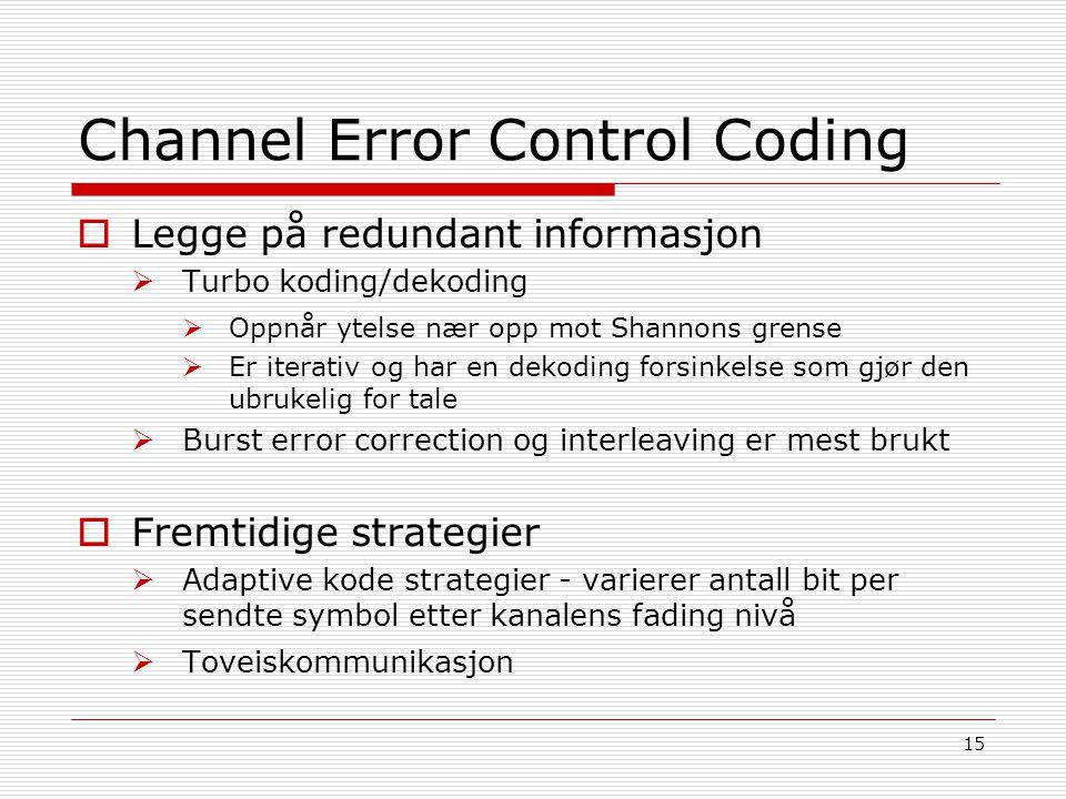 15 Channel Error Control Coding  Legge på redundant informasjon  Turbo koding/dekoding  Oppnår ytelse nær opp mot Shannons grense  Er iterativ og