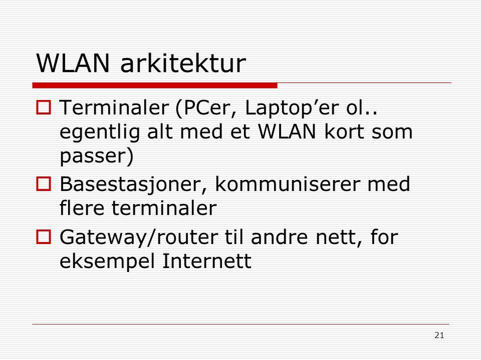 21 WLAN arkitektur  Terminaler (PCer, Laptop'er ol.. egentlig alt med et WLAN kort som passer)  Basestasjoner, kommuniserer med flere terminaler  G