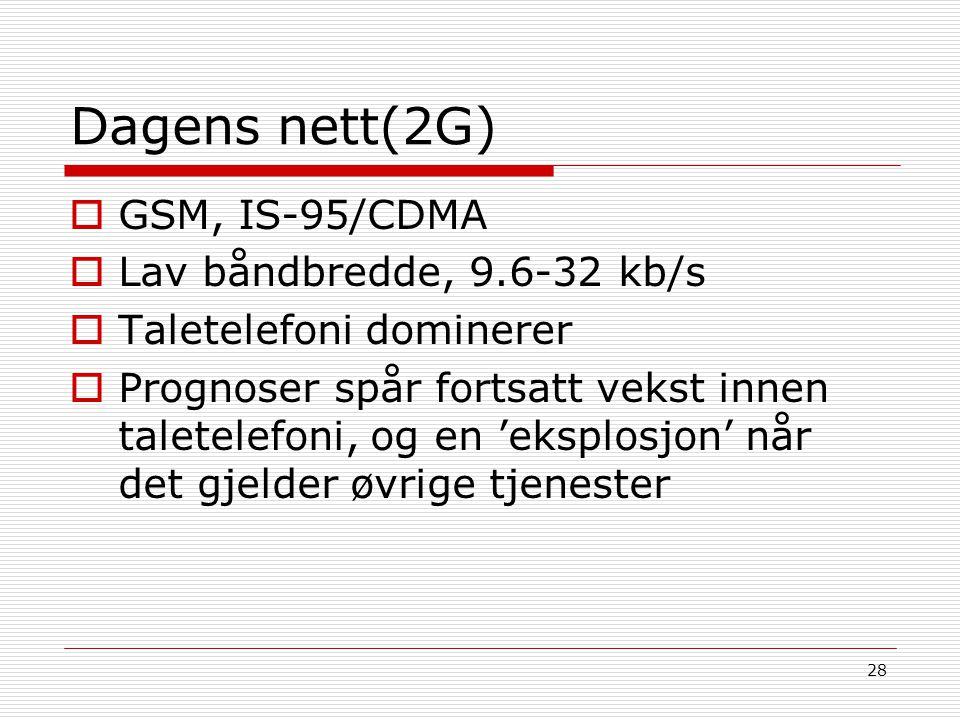 28 Dagens nett(2G)  GSM, IS-95/CDMA  Lav båndbredde, 9.6-32 kb/s  Taletelefoni dominerer  Prognoser spår fortsatt vekst innen taletelefoni, og en