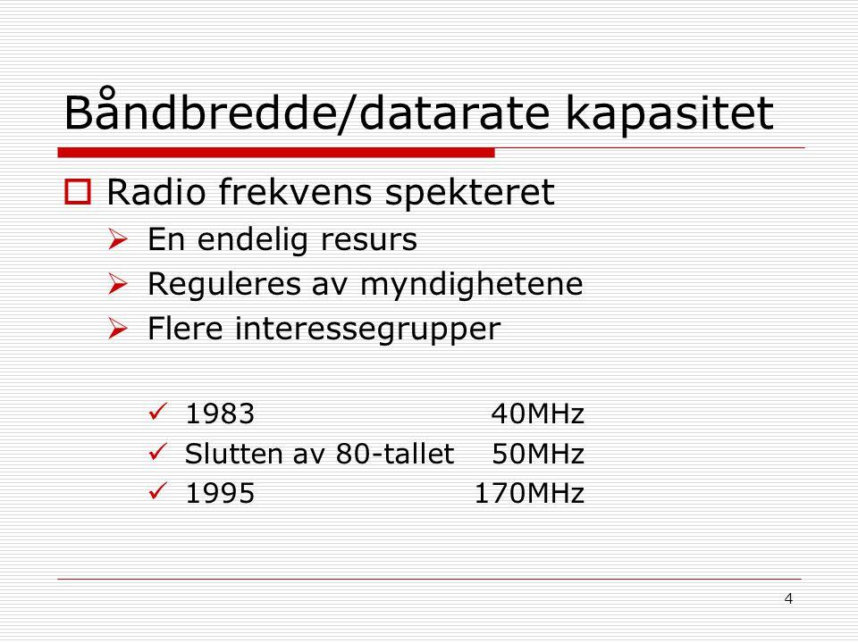 4 Båndbredde/datarate kapasitet  Radio frekvens spekteret  En endelig resurs  Reguleres av myndighetene  Flere interessegrupper 1983 40MHz Slutten