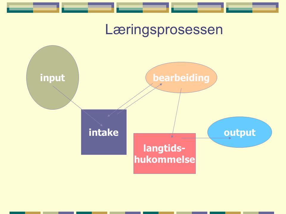 Læringsprosessen input intake bearbeiding langtids- hukommelse output