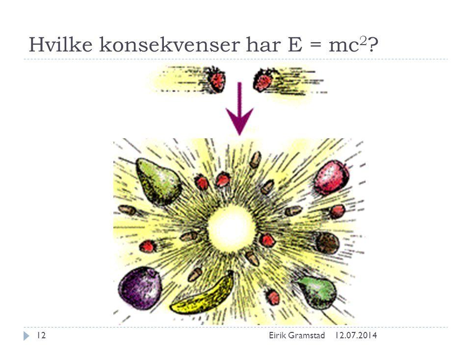 Hvilke konsekvenser har E = mc 2 ? 12.07.2014Eirik Gramstad12