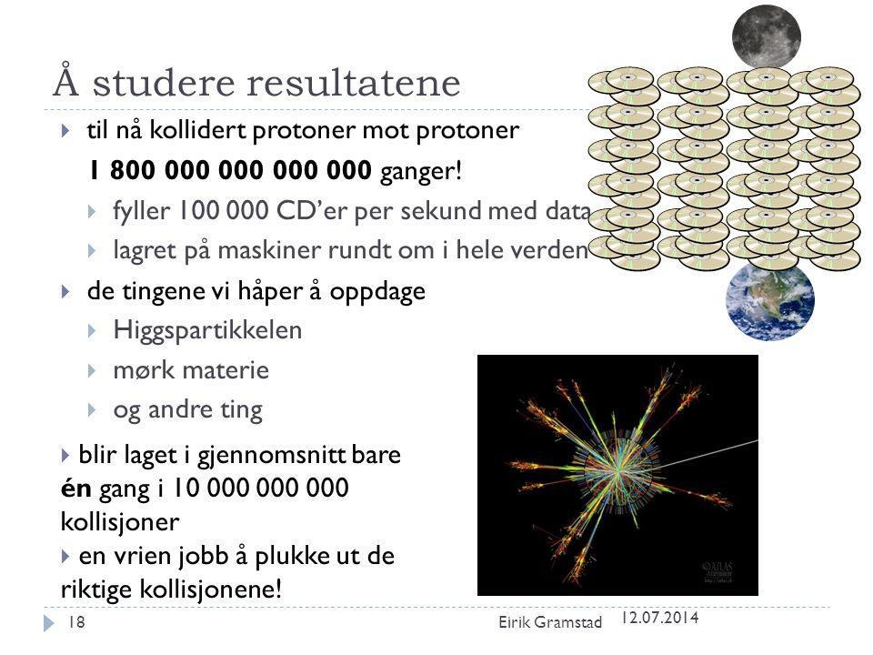 Å studere resultatene 12.07.2014 Eirik Gramstad18  til nå kollidert protoner mot protoner 1 800 000 000 000 000 ganger!  fyller 100 000 CD'er per se