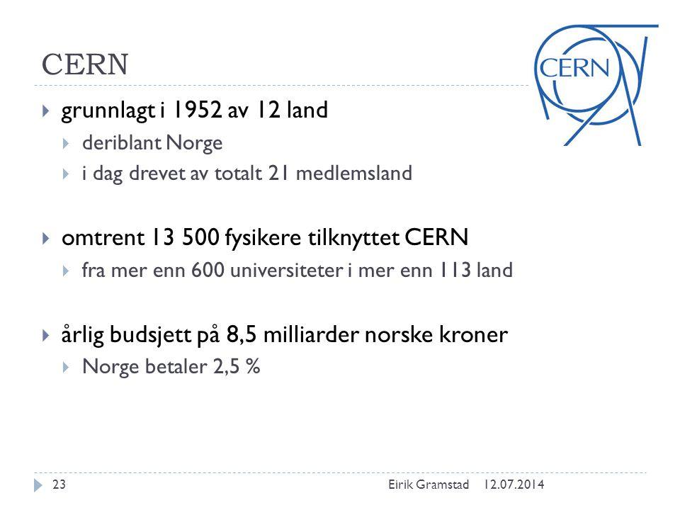 CERN  grunnlagt i 1952 av 12 land  deriblant Norge  i dag drevet av totalt 21 medlemsland  omtrent 13 500 fysikere tilknyttet CERN  fra mer enn 6