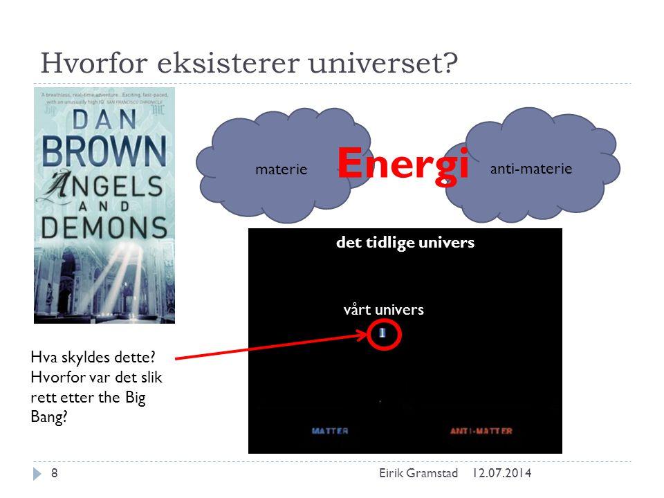 Hvorfor eksisterer universet? 12.07.2014Eirik Gramstad8 materie anti-materie Energi vårt univers Hva skyldes dette? Hvorfor var det slik rett etter th