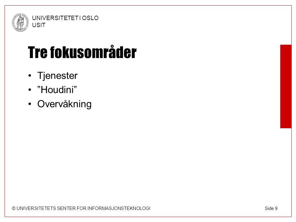 © UNIVERSITETETS SENTER FOR INFORMASJONSTEKNOLOGI UNIVERSITETET I OSLO USIT Side 9 Tre fokusområder Tjenester Houdini Overvåkning
