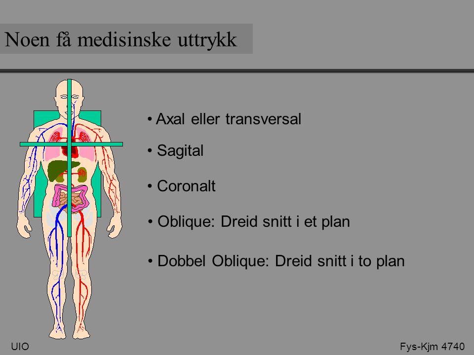 Coronalt Noen få medisinske uttrykk UIO Fys-Kjm 4740 Axal eller transversal Sagital Oblique: Dreid snitt i et plan Dobbel Oblique: Dreid snitt i to pl