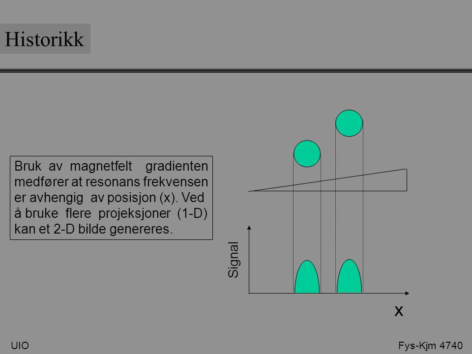 UIO Fys-Kjm 4740 Historikk x Signal Bruk av magnetfelt gradienten medfører at resonans frekvensen er avhengig av posisjon (x). Ved å bruke flere proje