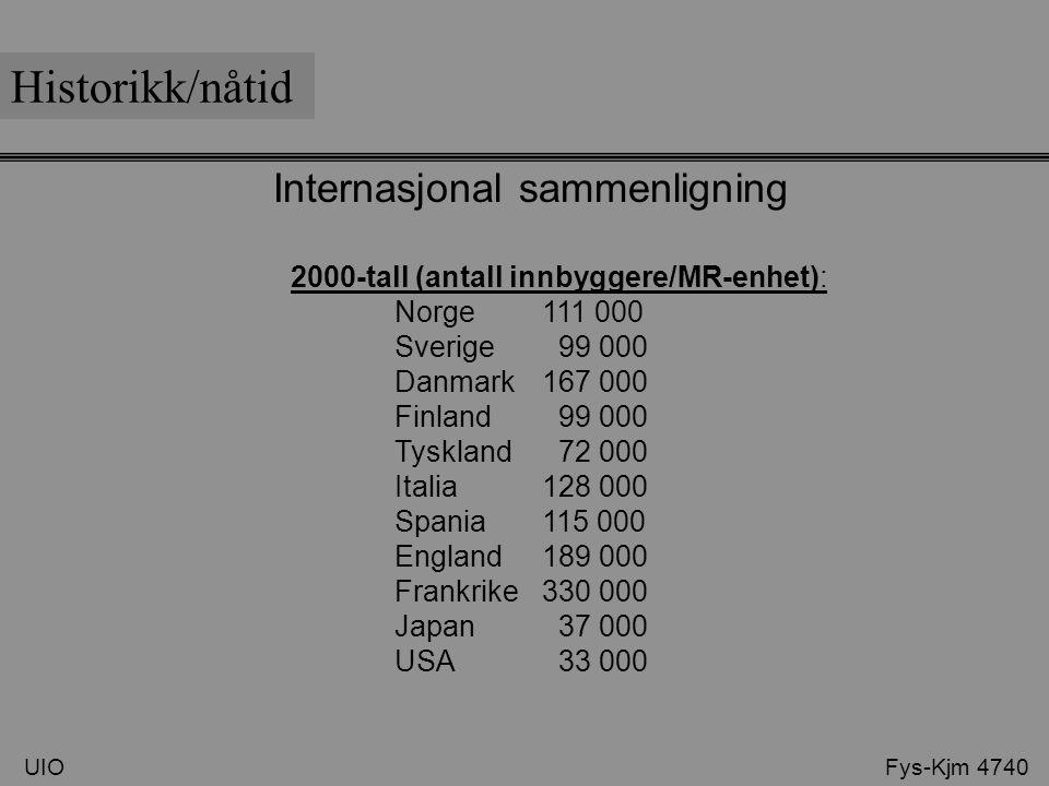 Internasjonal sammenligning 2000-tall (antall innbyggere/MR-enhet): Norge 111 000 Sverige 99 000 Danmark 167 000 Finland 99 000 Tyskland 72 000 Italia