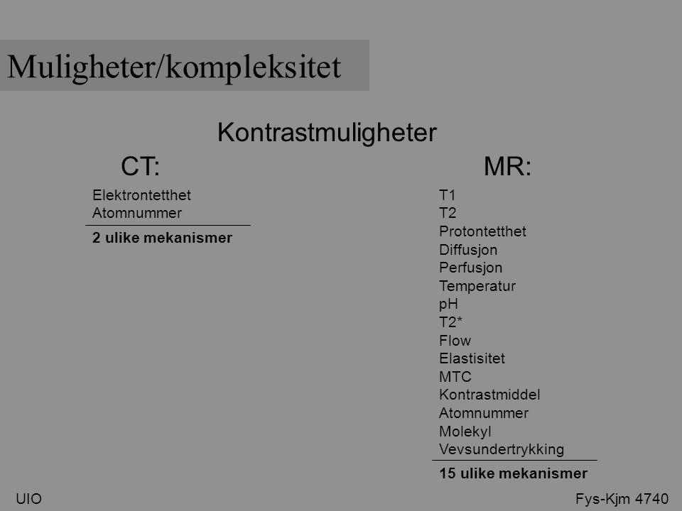 Kontrastmuligheter CT: MR: T1 T2 Protontetthet Diffusjon Perfusjon Temperatur pH T2* Flow Elastisitet MTC Kontrastmiddel Atomnummer Molekyl Vevsundert