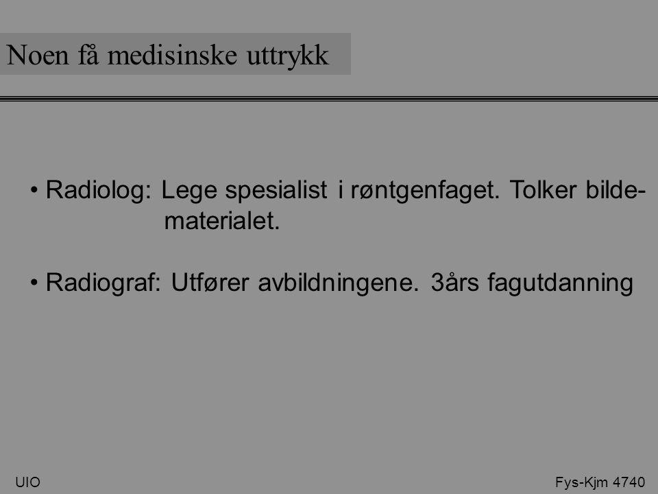 Coronalt Noen få medisinske uttrykk UIO Fys-Kjm 4740 Axal eller transversal Sagital Oblique: Dreid snitt i et plan Dobbel Oblique: Dreid snitt i to plan