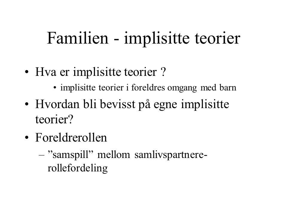 Familien - implisitte teorier Hva er implisitte teorier .