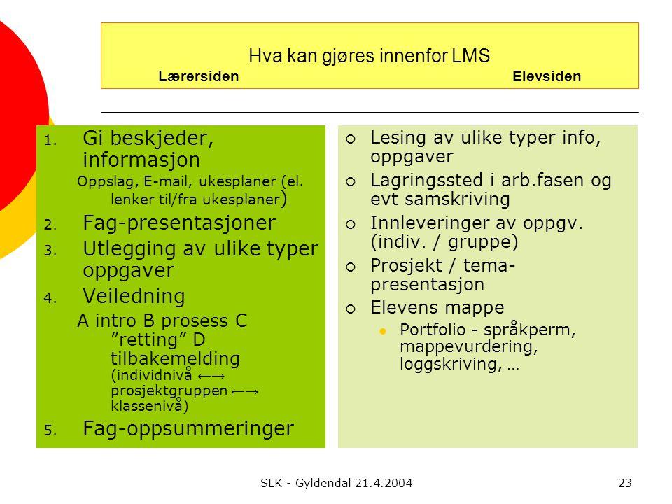 SLK - Gyldendal 21.4.200423 Hva kan gjøres innenfor LMS Lærersiden Elevsiden 1.