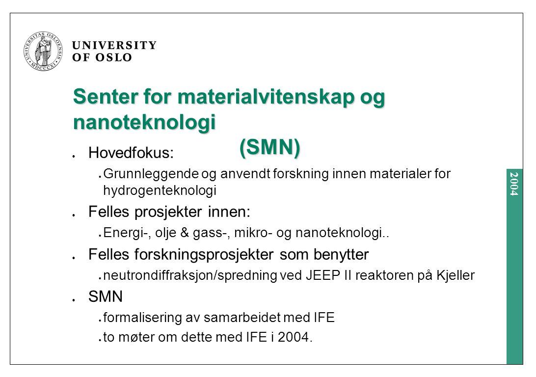 2004 Senter for materialvitenskap og nanoteknologi (SMN) Hovedfokus: Grunnleggende og anvendt forskning innen materialer for hydrogenteknologi Felles prosjekter innen: Energi-, olje & gass-, mikro- og nanoteknologi..