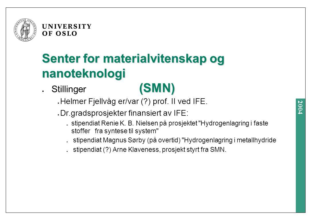 2004 Senter for materialvitenskap og nanoteknologi (SMN) Stillinger Helmer Fjellvåg er/var ( ) prof.