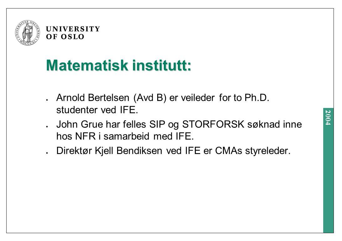 2004 Matematisk institutt: Arnold Bertelsen (Avd B) er veileder for to Ph.D.