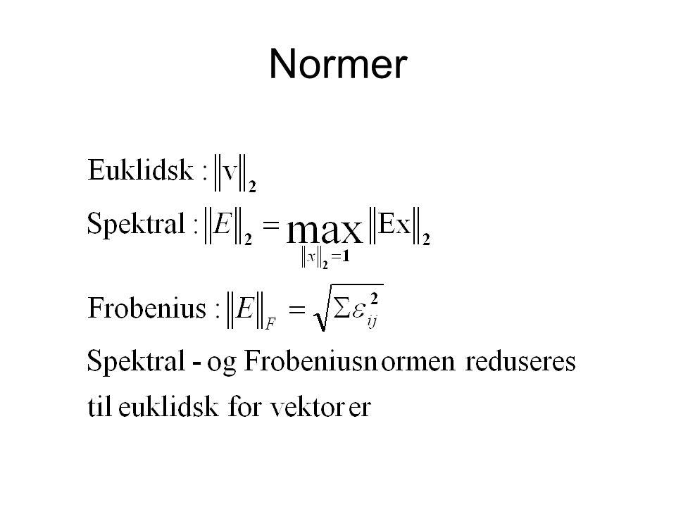 Singulære vektorer Små feil kan gi store utslag for singulærvektorene