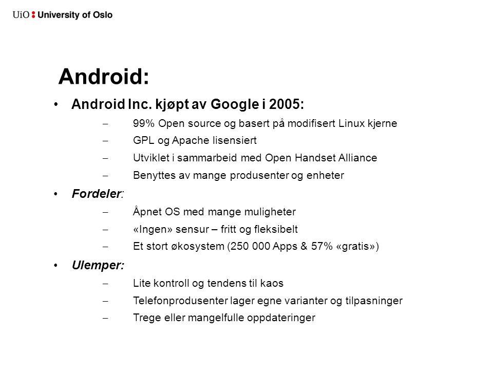 Versjoner og variasjoner Nexus - Hver nye versjon kommer ofte med et flaggskip sponset og utviklet i sammarbeid med Google 1.0 - Android (HTC Dream) - 2008 1.1 - Android 1.5 - Cupcake ( HTC Magic) 1.6 - Donut ( HTC Hero ) 2.1 - Eclair 2.2 – Froyo Første ordentlig modne versjon 2.3.x – Gingerbread Telefonversjonene som benyttes nå 3.x.x – Honeycomb Nettbrett o.l Closed source.