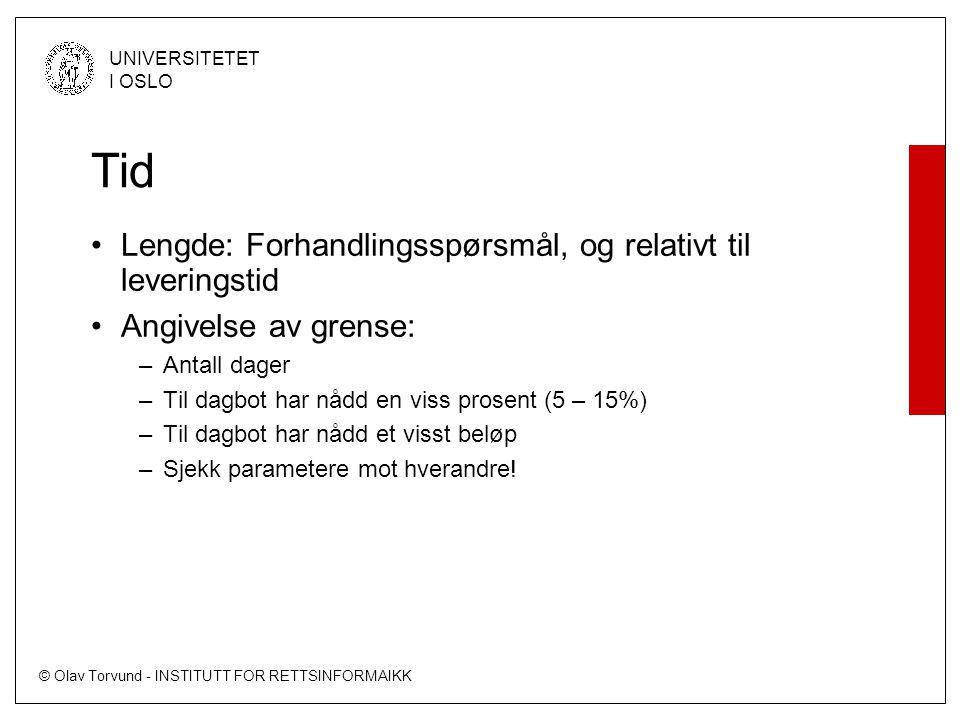 © Olav Torvund - INSTITUTT FOR RETTSINFORMAIKK UNIVERSITETET I OSLO Tid Lengde: Forhandlingsspørsmål, og relativt til leveringstid Angivelse av grense