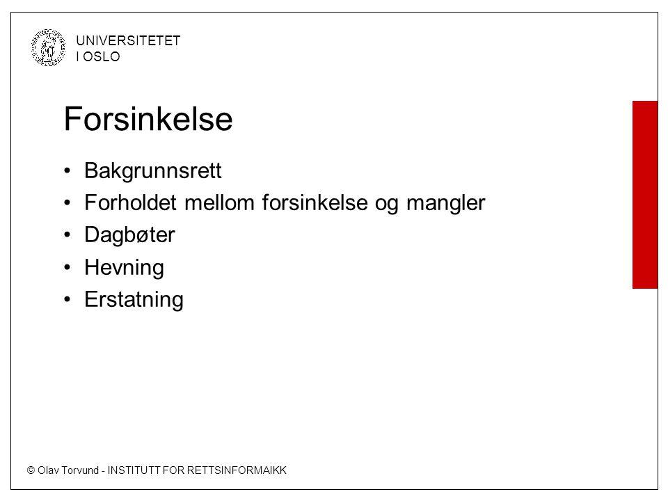 © Olav Torvund - INSTITUTT FOR RETTSINFORMAIKK UNIVERSITETET I OSLO Forsinkelse Bakgrunnsrett Forholdet mellom forsinkelse og mangler Dagbøter Hevning
