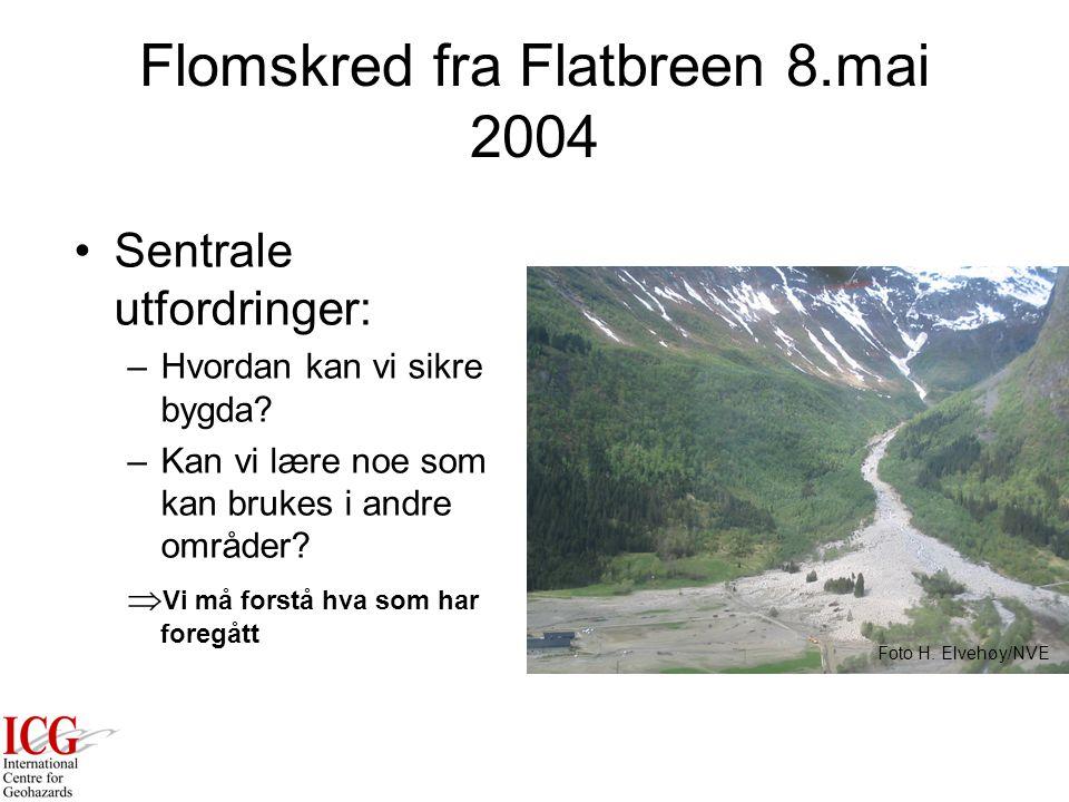 Flomskred fra Flatbreen 8.mai 2004 Sentrale utfordringer: –Hvordan kan vi sikre bygda.