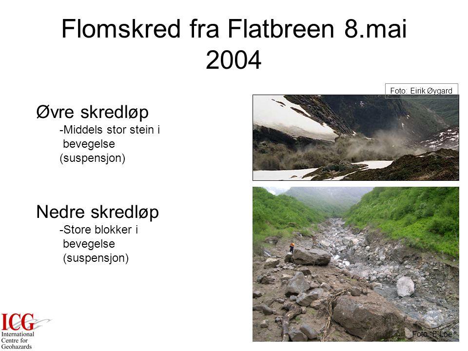 Flomskred fra Flatbreen 8.mai 2004 Foto: Eirik Øygard Øvre skredløp -Middels stor stein i bevegelse (suspensjon) Nedre skredløp -Store blokker i bevegelse (suspensjon) Foto: E.Loe