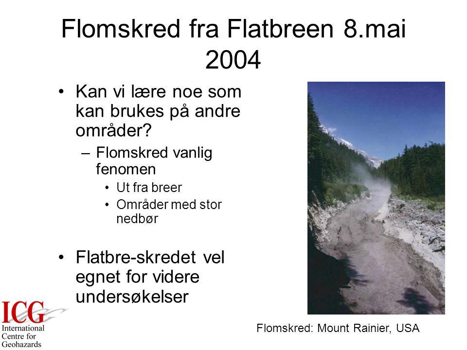 Flomskred fra Flatbreen 8.mai 2004 Blokkvifta –Viktig område for undersøkelser Sentralt spørsmål –Hvorfor finner vi de største blokkene på toppen.