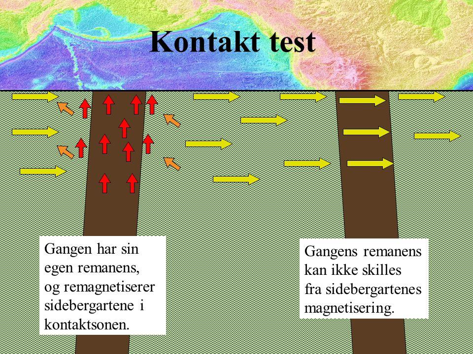 Kontakt test Gangen har sin egen remanens, og remagnetiserer sidebergartene i kontaktsonen.