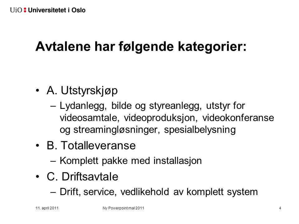 Avtalene har følgende kategorier: A. Utstyrskjøp –Lydanlegg, bilde og styreanlegg, utstyr for videosamtale, videoproduksjon, videokonferanse og stream