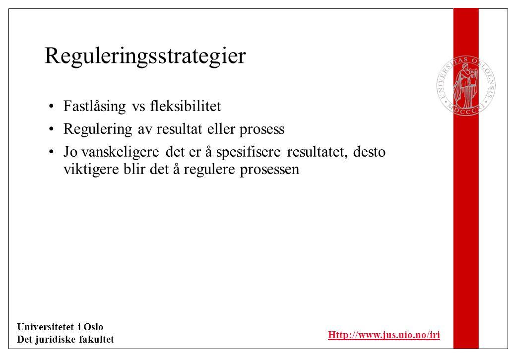 Universitetet i Oslo Det juridiske fakultet Http://www.jus.uio.no/iri Reguleringsstrategier Fastlåsing vs fleksibilitet Regulering av resultat eller prosess Jo vanskeligere det er å spesifisere resultatet, desto viktigere blir det å regulere prosessen