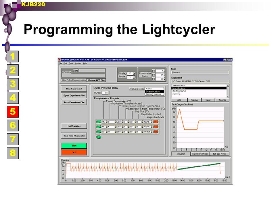 KJB220 Programming the Lightcycler 1 2 3 4 5 6 7 8
