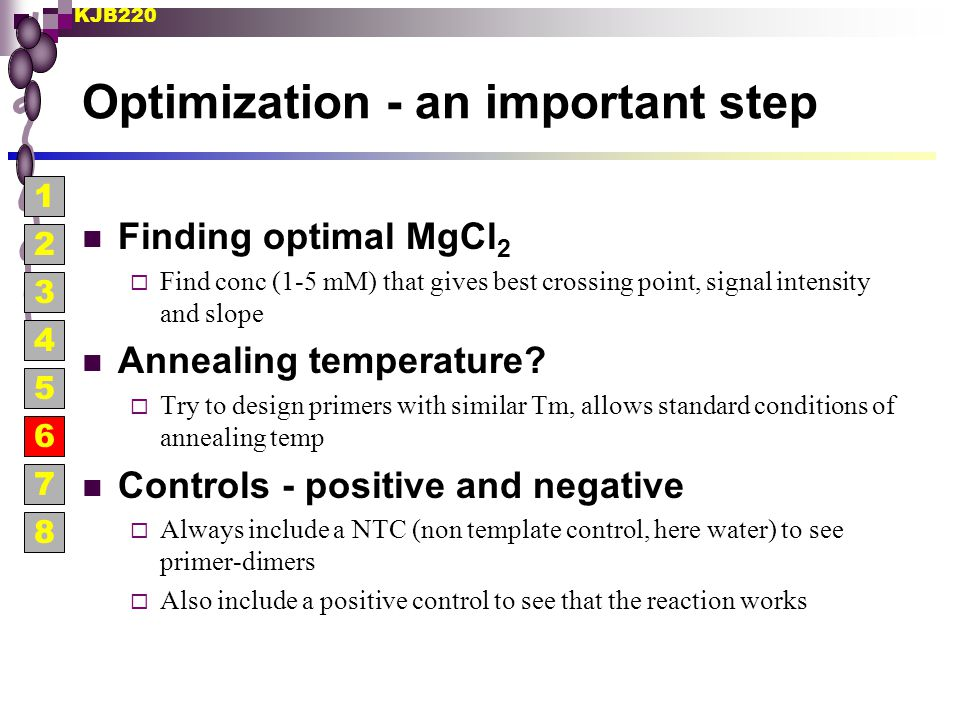 KJB220 Optimization - an important step Finding optimal MgCl 2  Find conc (1-5 mM) that gives best crossing point, signal intensity and slope Anneali