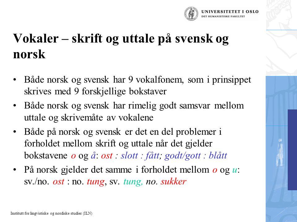 Institutt for lingvistiske og nordiske studier (ILN) Vokaler – skrift og uttale på svensk og norsk Både norsk og svensk har 9 vokalfonem, som i prinsi