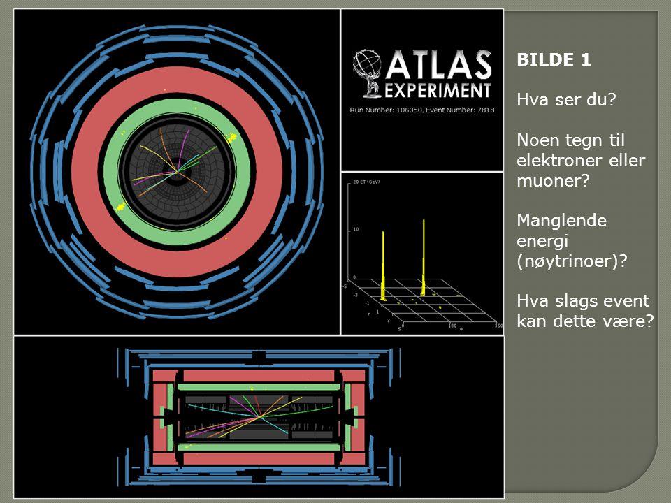BILDE 1 Hva ser du. Noen tegn til elektroner eller muoner.