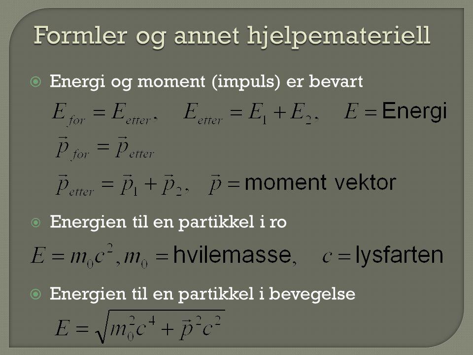  Energi og moment (impuls) er bevart  Energien til en partikkel i ro  Energien til en partikkel i bevegelse