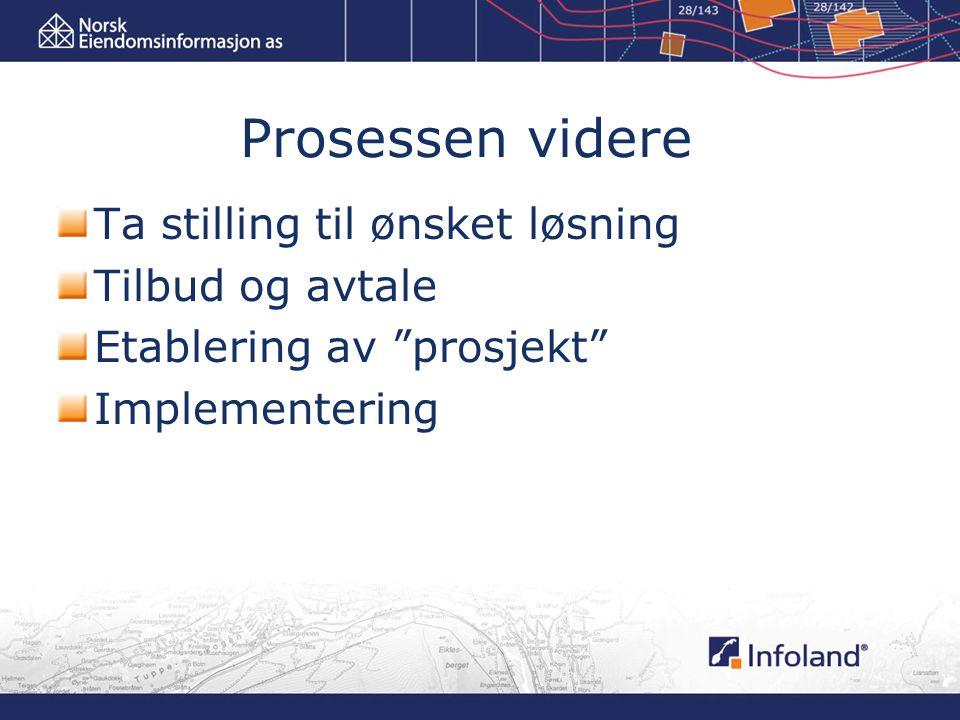 Prosessen videre Ta stilling til ønsket løsning Tilbud og avtale Etablering av prosjekt Implementering