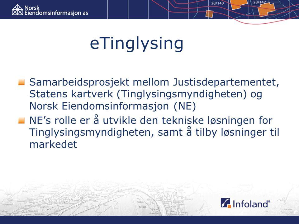 eTinglysing Samarbeidsprosjekt mellom Justisdepartementet, Statens kartverk (Tinglysingsmyndigheten) og Norsk Eiendomsinformasjon (NE) NE's rolle er å utvikle den tekniske løsningen for Tinglysingsmyndigheten, samt å tilby løsninger til markedet