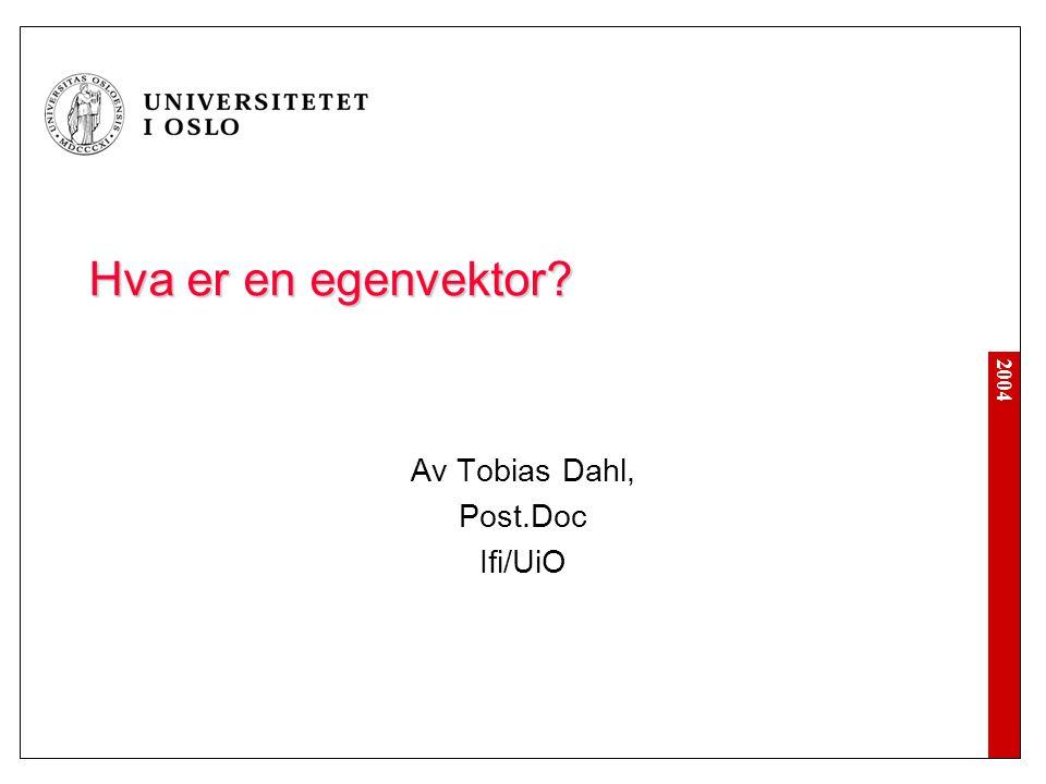 2004 Hva er en egenvektor? Av Tobias Dahl, Post.Doc Ifi/UiO