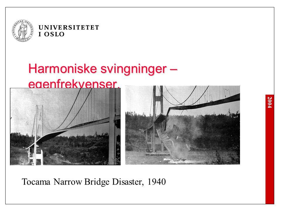 2004 Harmoniske svingninger – egenfrekvenser. Tocama Narrow Bridge Disaster, 1940